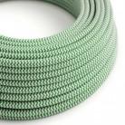 Elektrisches Kabel rund überzogen mit Textil-Seideneffekt Zick-Zack Grün RZ06
