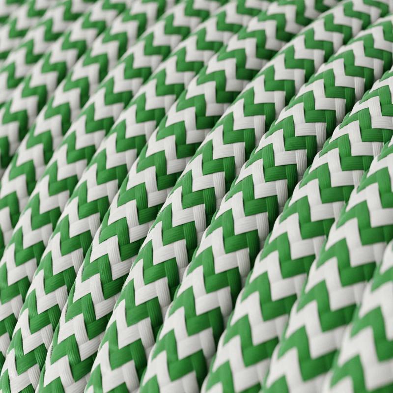Cavo Elettrico rotondo rivestito in tessuto effetto Seta ZigZag Verde RZ06