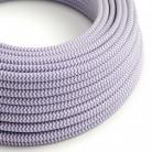 Elektrisches Kabel rund überzogen mit Textil-Seideneffekt Zick-Zack Lila RZ07