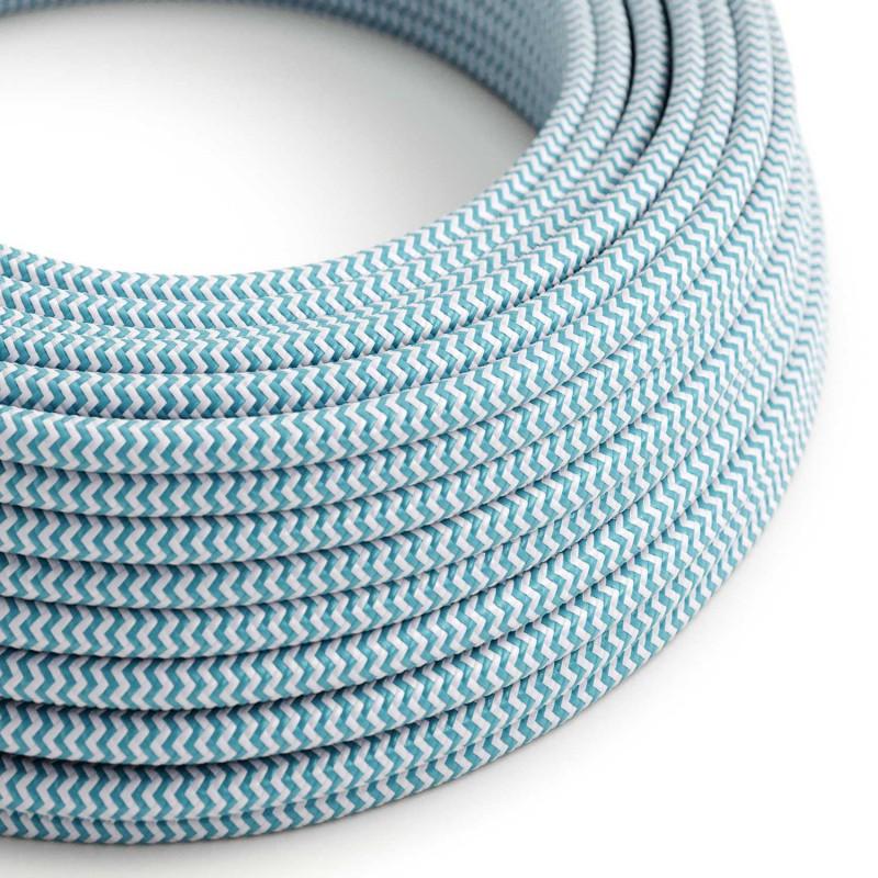 Elektrisches Kabel rund überzogen mit Textil-Seideneffekt Zick-Zack Türkis RZ11