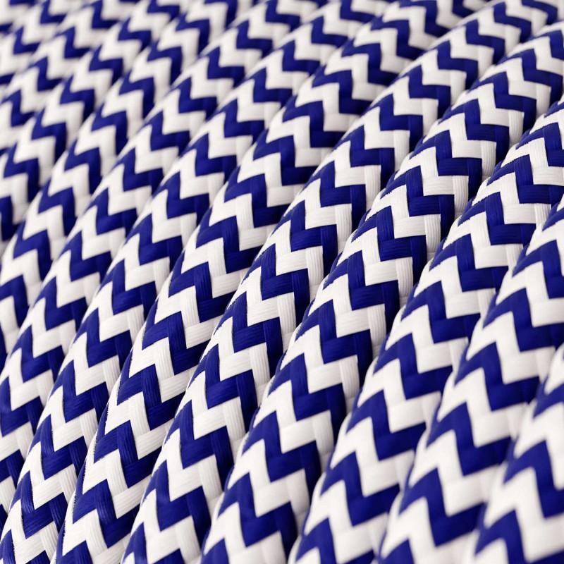 Elektrisches Kabel rund überzogen mit Textil-Seideneffekt Zick-Zack Blau RZ12