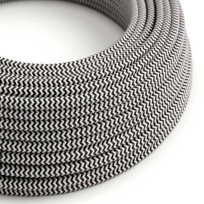 Elektrisches Kabel rund überzogen mit Textil-Seideneffekt Zick-Zack Schwarz RZ04