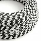 Elektrisches Kabel rund überzogen mit Textil-Seideneffekt Bifarbig Schwarz RP04