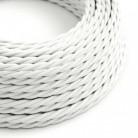 Cavo Elettrico trecciato rivestito in tessuto effetto Seta Tinta Unita Bianco TM01