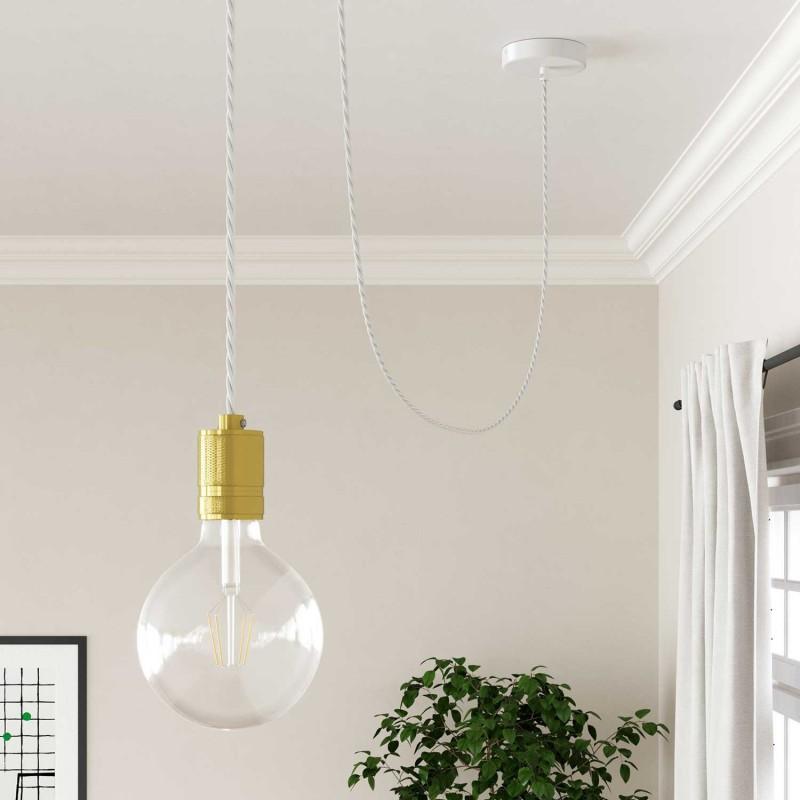 Elektrisches Kabel geflochten überzogen mit Textil-Seideneffekt Einfarbig Weiß TM01
