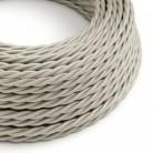 Elektrisches Kabel geflochten überzogen mit Textil-Seideneffekt Einfarbig Elfenbein TM00