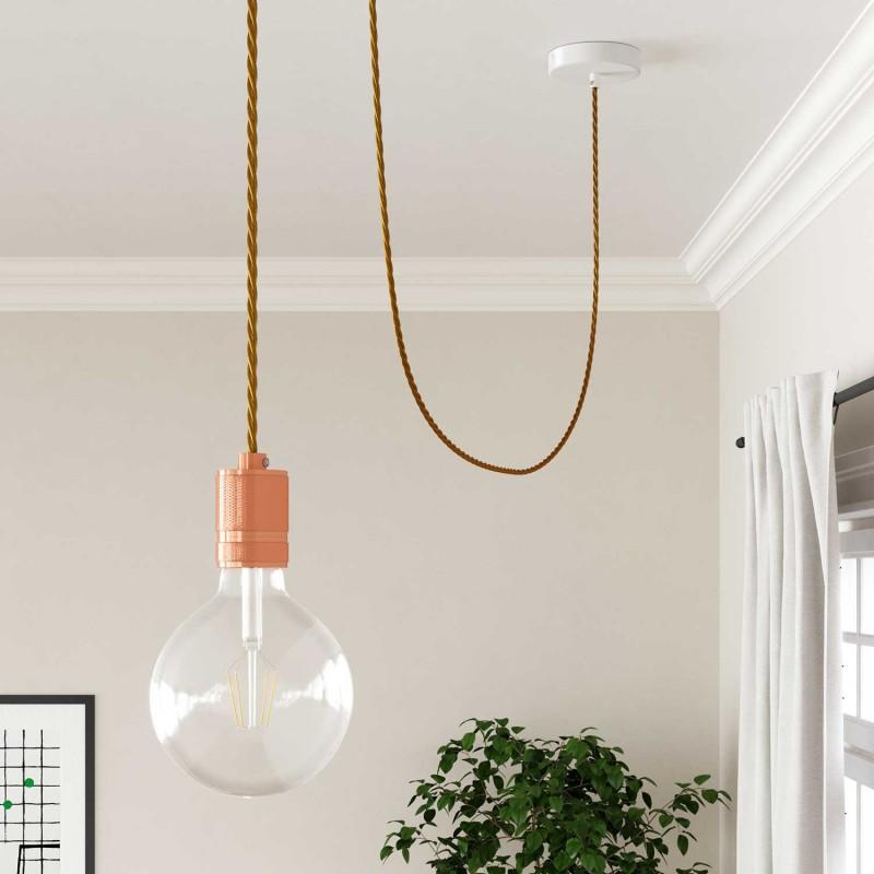 Elektrisches Kabel geflochten überzogen mit Textil-Seideneffekt Einfarbig Gold TM05