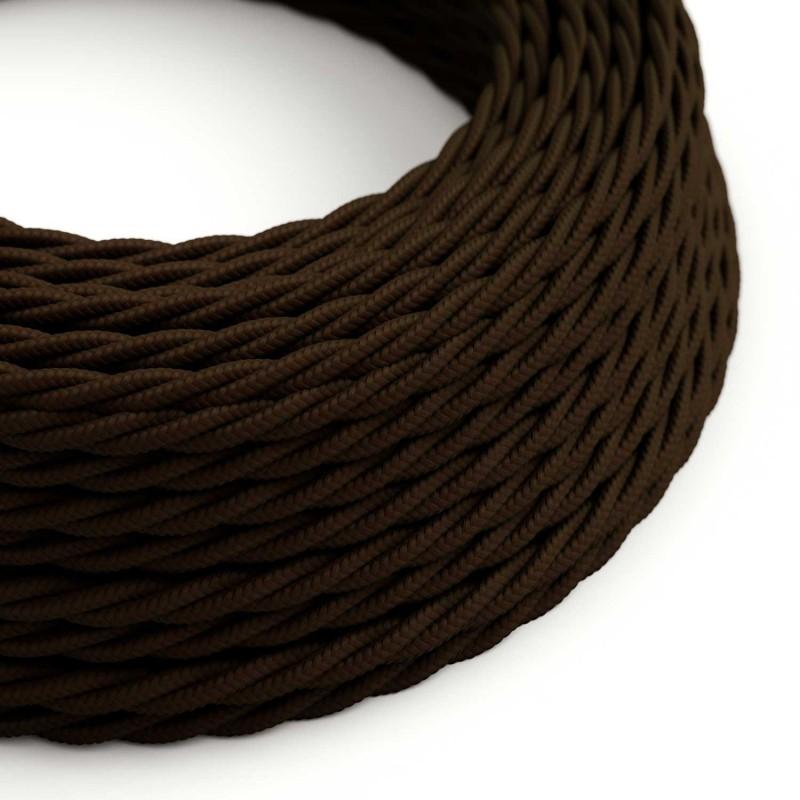Elektrisches Kabel geflochten überzogen mit Textil-Seideneffekt Einfarbig Braun TM13