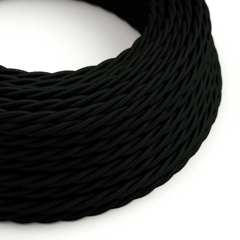 Fil Électrique Torsadé Gaine De Tissu De Couleur Effet Soie Tissu Uni Noir TM04