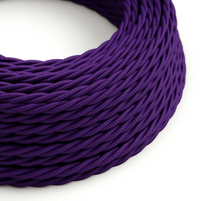 Fil Électrique Torsadé Gaine De Tissu De Couleur Effet Soie Tissu Uni Violet TM14