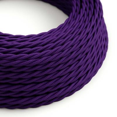 Elektrisches Kabel geflochten überzogen mit Textil-Seideneffekt Einfarbig Violett TM14