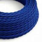Fil Électrique Torsadé Gaine De Tissu De Couleur Effet Soie Tissu Uni Bleu TM12