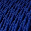 Elektrisches Kabel geflochten überzogen mit Textil-Seideneffekt Einfarbig Blau TM12