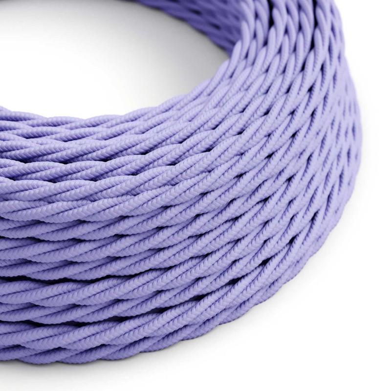 Elektrisches Kabel geflochten überzogen mit Textil-Seideneffekt Einfarbig Lila TM07