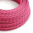 Elektrisches Kabel geflochten überzogen mit Textil-Seideneffekt Einfarbig Fuchsia TM08