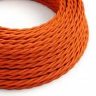 Elektrisches Kabel geflochten überzogen mit Textil-Seideneffekt Einfarbig Orange TM15