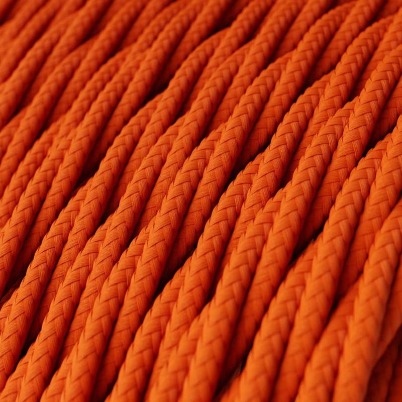 Cavo Elettrico trecciato rivestito in tessuto effetto Seta Tinta Unita Arancione TM15