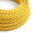Elektrisches Kabel geflochten überzogen mit Textil-Seideneffekt Einfarbig Gelb TM10