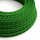 Cavo Elettrico trecciato rivestito in tessuto effetto Seta Tinta Unita Verde TM06