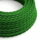Elektrisches Kabel geflochten überzogen mit Textil-Seideneffekt Einfarbig Grün TM06