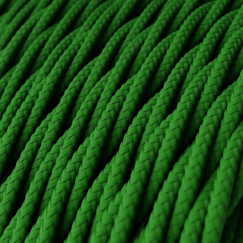 Fil Électrique Torsadé Gaine De Tissu De Couleur Effet Soie Tissu Uni Vert TM06