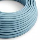 Fil Électrique Rond Gaine De Tissu De Couleur Effet Soie Tissu Uni Bleu Azur Baby RM17
