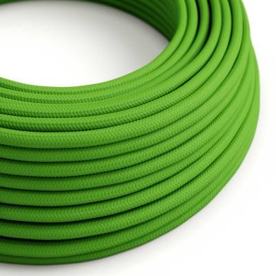 Elektrisches Kabel rund überzogen mit Textil-Seideneffekt Einfarbig Lime Grün RM18