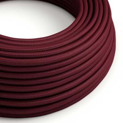 Elektrisches Kabel rund überzogen mit Textil-Seideneffekt Einfarbig Bordeaux RM19