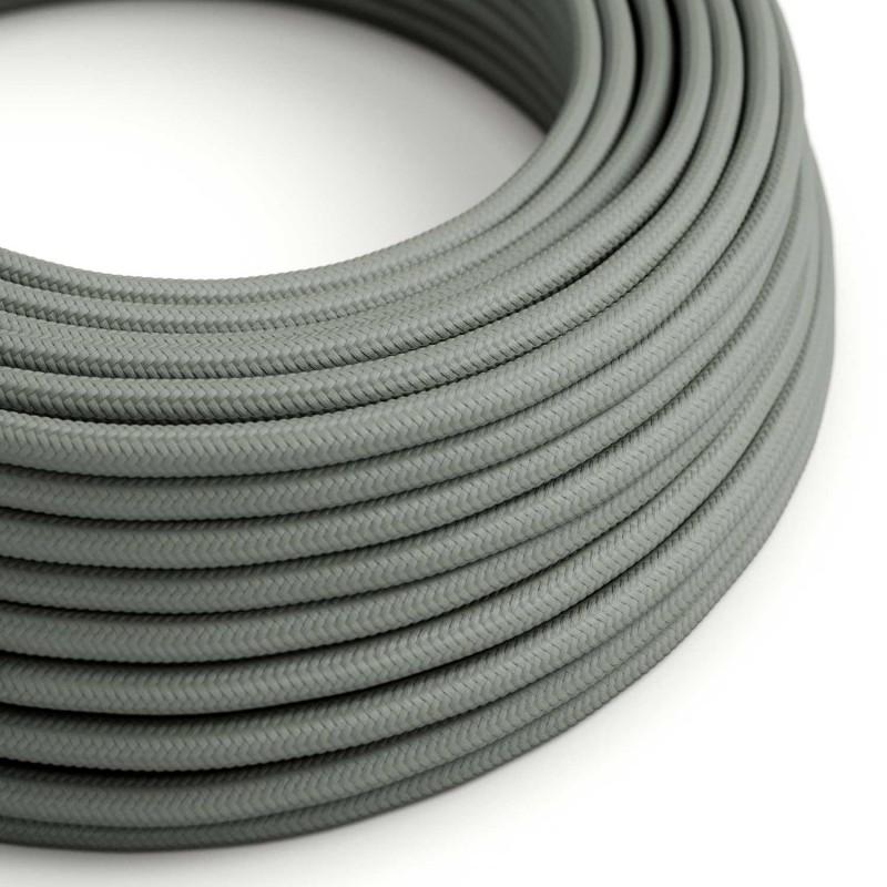 Elektrisches Kabel rund überzogen mit Textil-Seideneffekt Einfarbig Grau RM03
