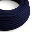 Cavo Elettrico rotondo rivestito in tessuto effetto Seta Tinta Unita Blu scuro RM20