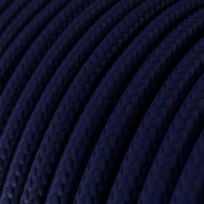 Fil Électrique Rond Gaine De Tissu De Couleur Effet Soie Tissu Uni Bleu Marine RM20