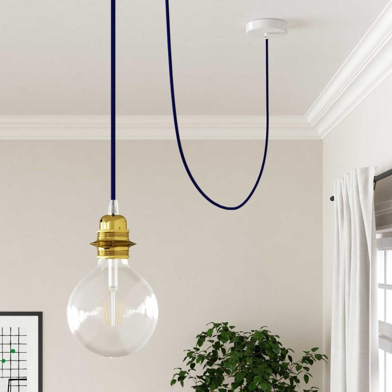 Elektrisches Kabel rund überzogen mit Textil-Seideneffekt Einfarbig Dunkelblau RM20