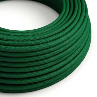 Cavo Elettrico rotondo rivestito in tessuto effetto Seta Tinta Unita Verde scuro RM21