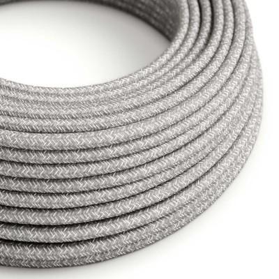 Elektrisches Kabel Rund überzogen mit natürliches Leinen Grau RN02