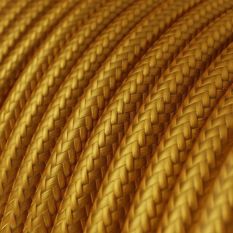Fil Électrique Rond Gaine De Tissu De Couleur Effet Soie Tissu Uni Or RM05