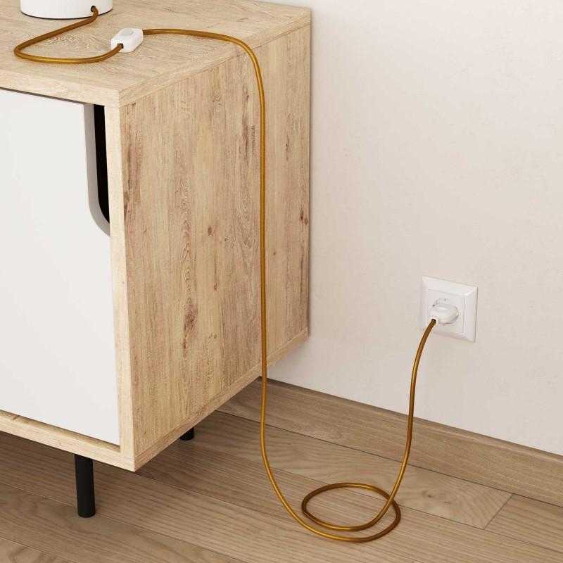 Elektrisches Kabel rund überzogen mit Textil-Seideneffekt Einfarbig Gold RM05