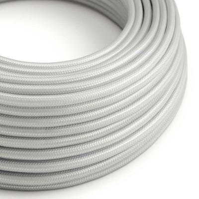Elektrisches Kabel rund überzogen mit Textil-Seideneffekt Einfarbig Silber RM02
