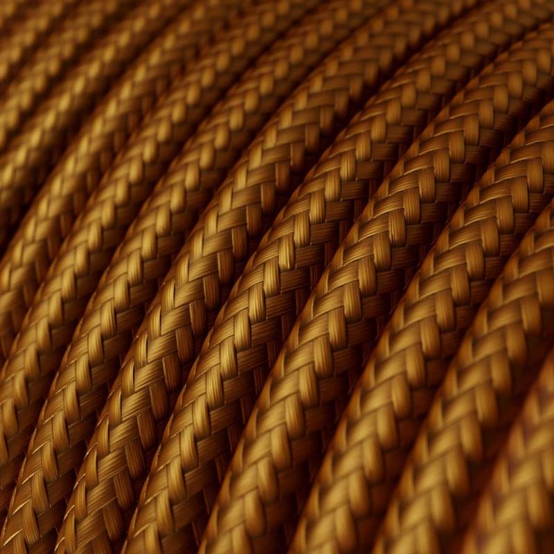 Elektrisches Kabel rund überzogen mit Textil-Seideneffekt Einfarbig Whiskey RM22