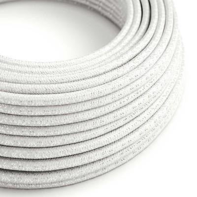 Elektrisches Kabel rund überzogen mit Textil-Seideneffekt Einfarbig Weiß geglittert RL01