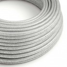 Elektrisches Kabel rund überzogen mit Textil-Seideneffekt Einfarbig Silber geglittert RL02
