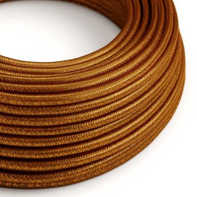 Elektrisches Kabel rund überzogen mit Textil-Seideneffekt Einfarbig Kupfer geglittert RL22