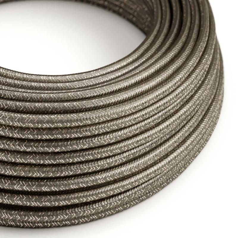 Elektrisches Kabel rund überzogen mit Textil-Seideneffekt Einfarbig Grau geglittert RL03