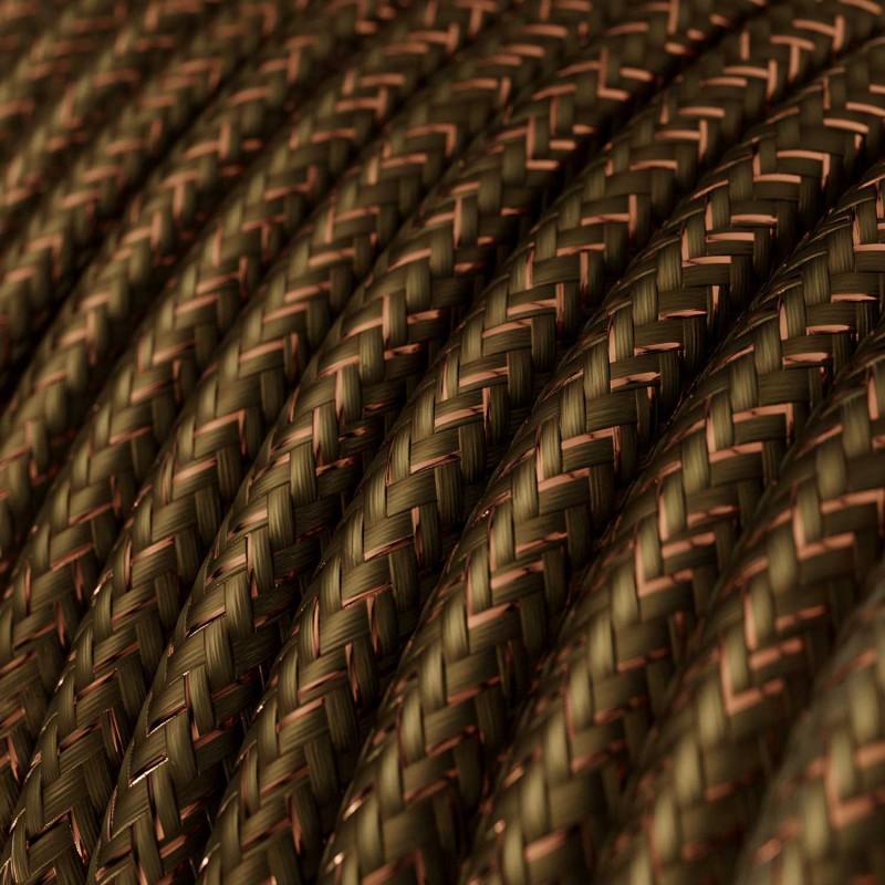 Cavo Elettrico rotondo rivestito in tessuto effetto Seta Tinta Unita Glitterato Marrone RL13