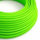 Cavo Elettrico rotondo rivestito in tessuto effetto Seta Tinta Unita Verde Fluo RF06