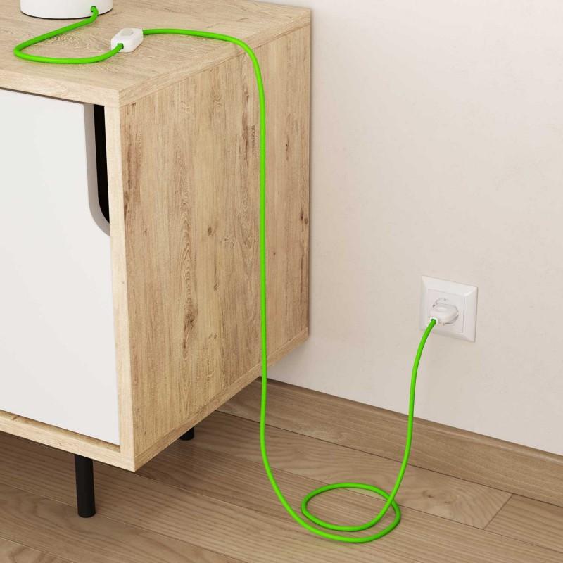Elektrisches Kabel rund überzogen mit Textil-Seideneffekt Einfarbig Grün Fluo RF06