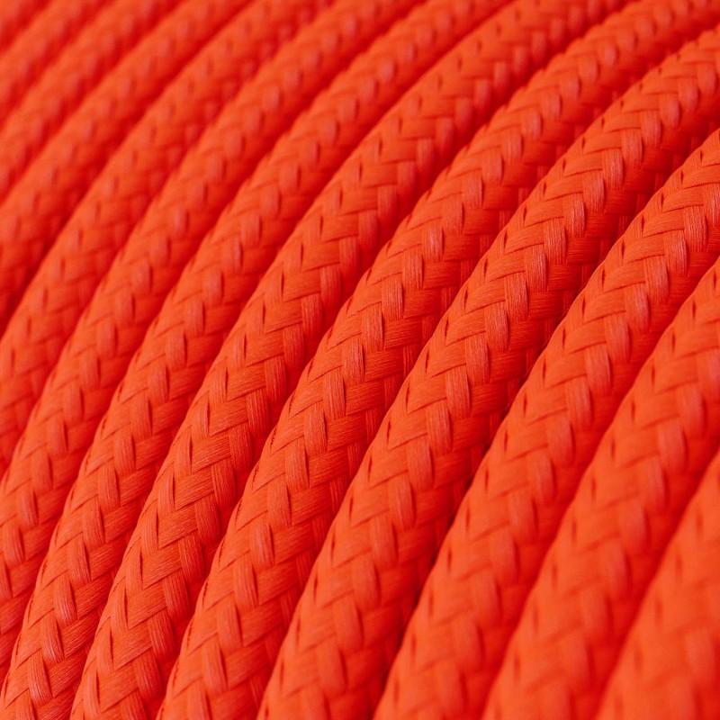 Elektrisches Kabel rund überzogen mit Textil-Seideneffekt Einfarbig Orange Fluo RF15