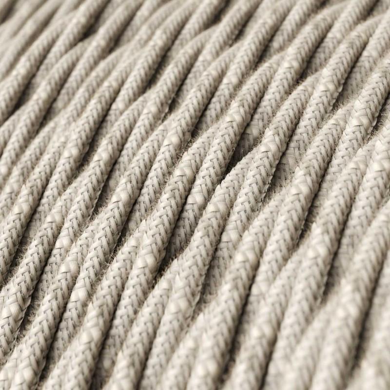 Elektrisches Kabel geflochten überzogen mit natürliches Leinen Neutral TN01