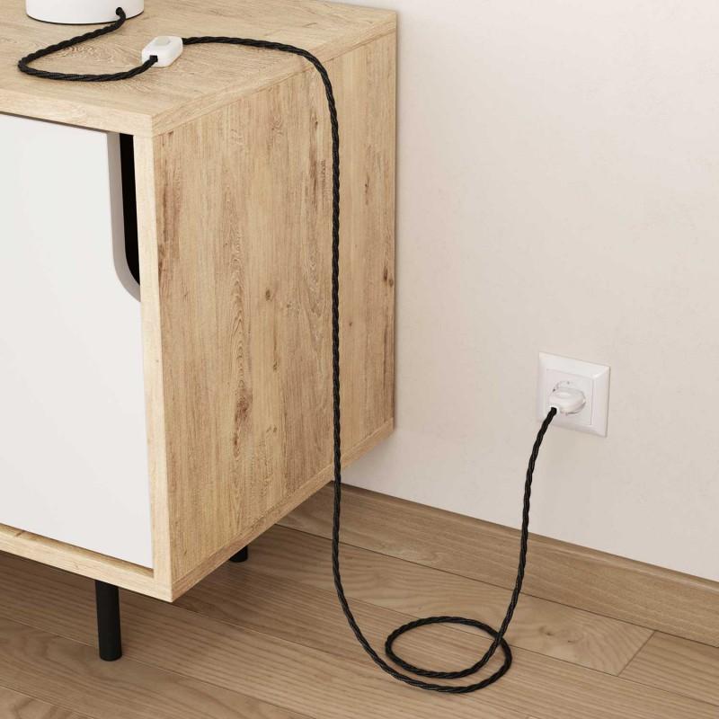 Elektrisches Kabel geflochten überzogen mit natürliches Leinen Anthrazit TN03