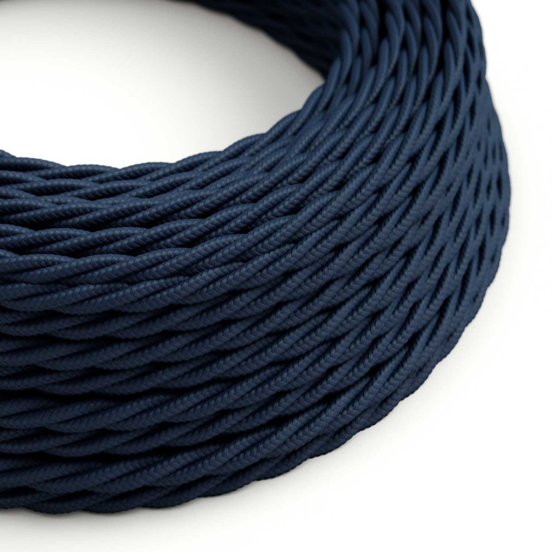 Fil Électrique Torsadé Gaine De Tissu De Couleur Bleu Marine TM20