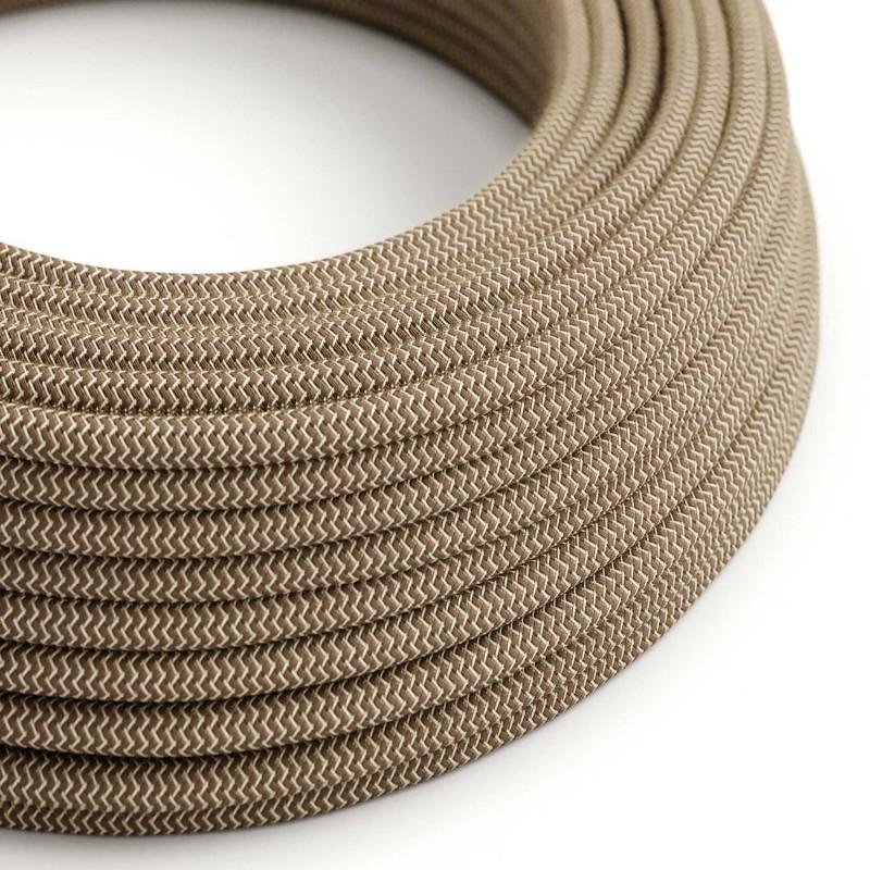Elektrisches Kabel rund überzogen mit Baumwolle Farbe-Rinde Zick-Zack und natürliches Leinen RD73